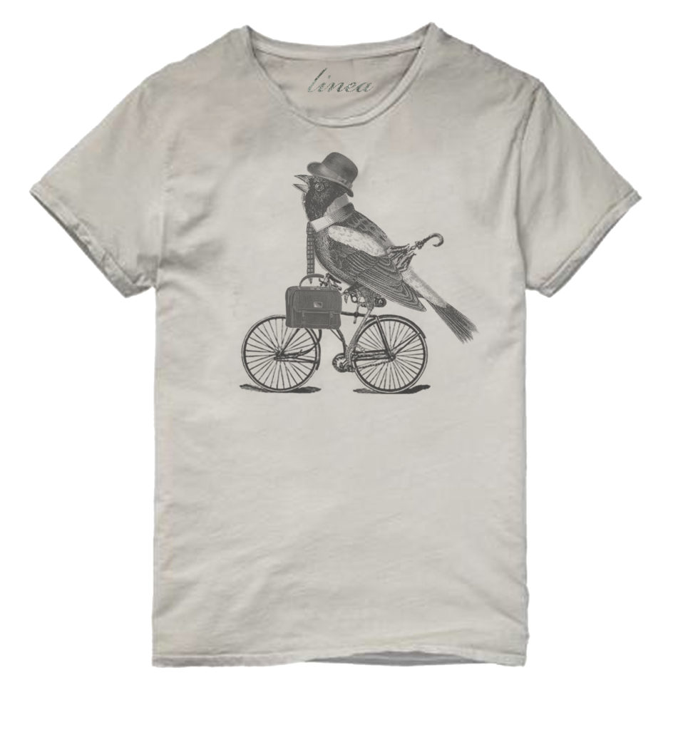 bird on bike tshirt